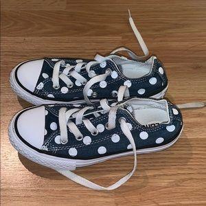 Girls Low Top Blue Polka Dot Converse